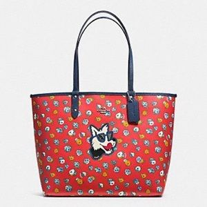 Coach coated canvas tote - floral & dog print